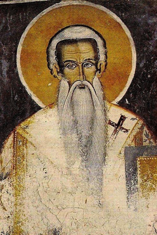 Святитель Феодосий, Митрополит Трапезундский. Фреска кафоликона монастыря Филофей на Афоне. 1765 год.