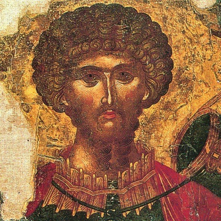 Святой Великомученик Феодор Стратилат. Греческая икона. Остров Закинф, Греция. Лик Святого.