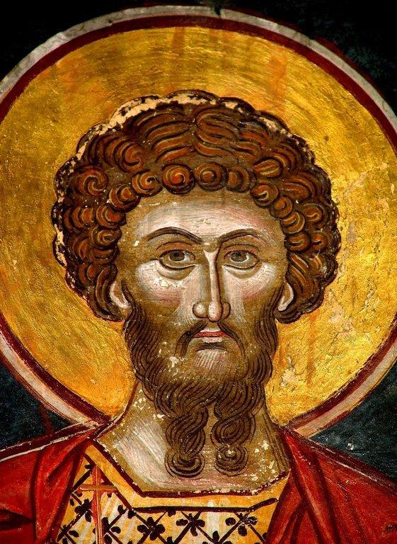 Святой Великомученик Феодор Стратилат. Греческая фреска. Метеоры, Греция.