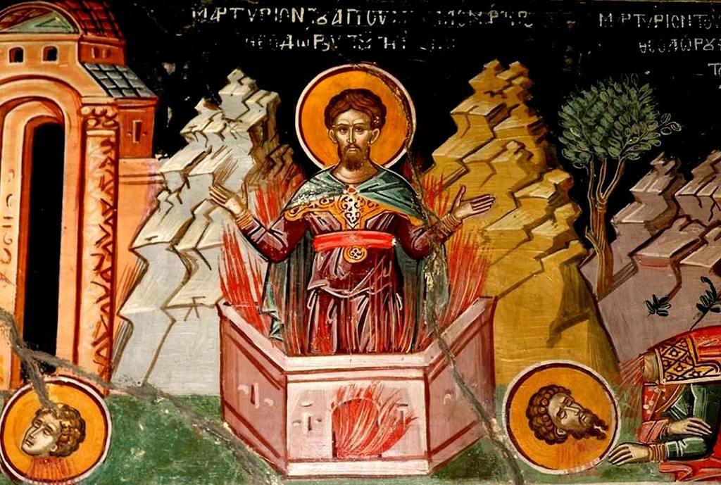 Мученичество Святого Феодора Тирона. Фреска. Метеоры, Греция.