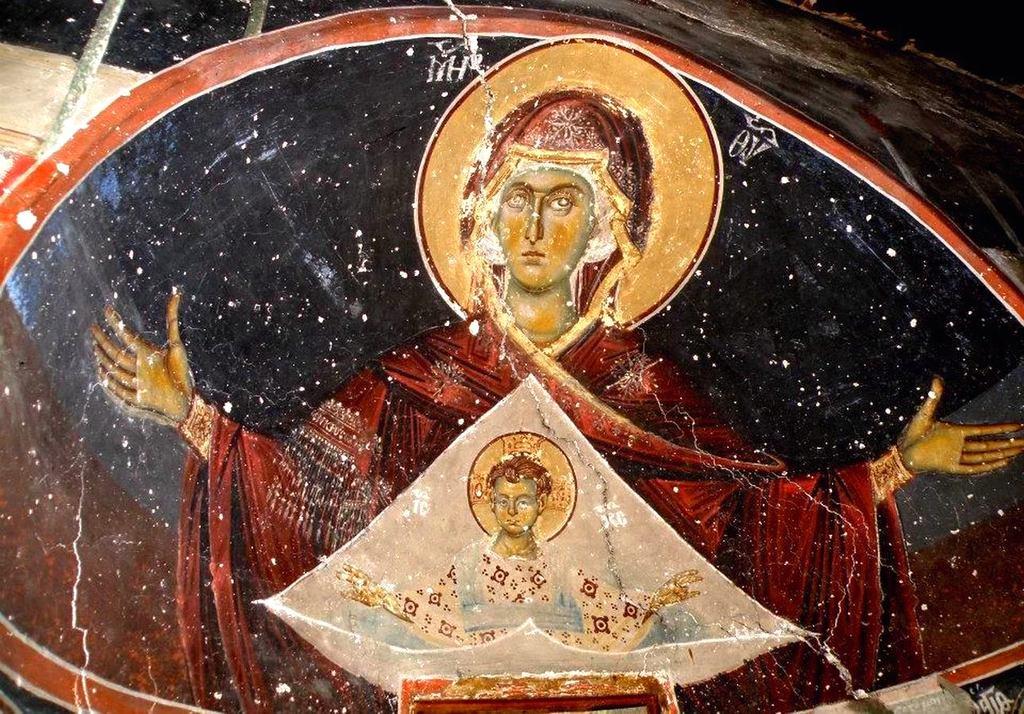 Богоматерь Оранта. Фреска церкви Святого Иоанна Предтечи в Кастории, Греция.