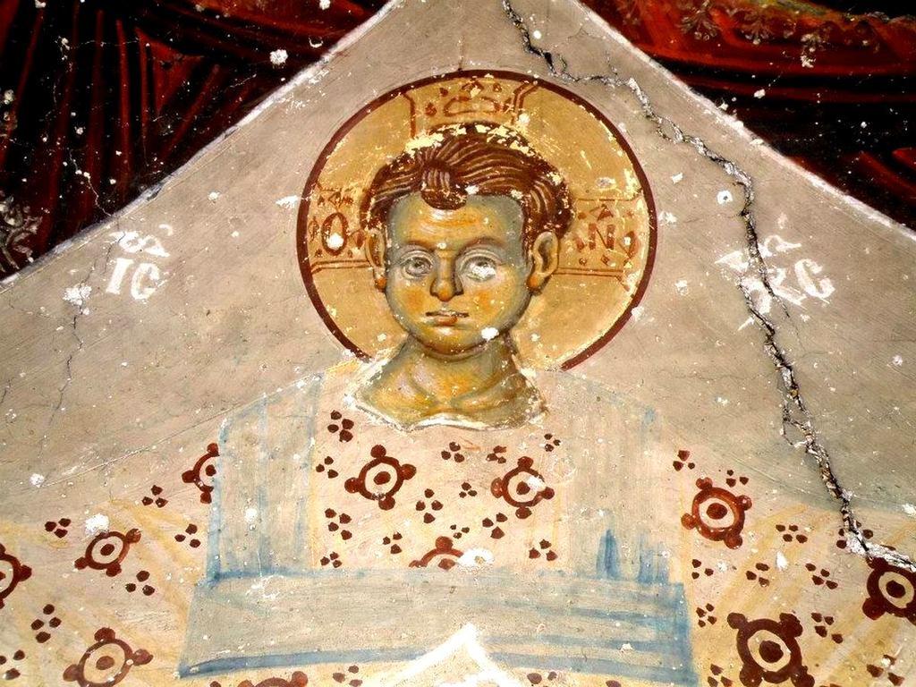 Богоматерь Оранта. Фреска церкви Святого Иоанна Предтечи в Кастории, Греция. Фрагмент.