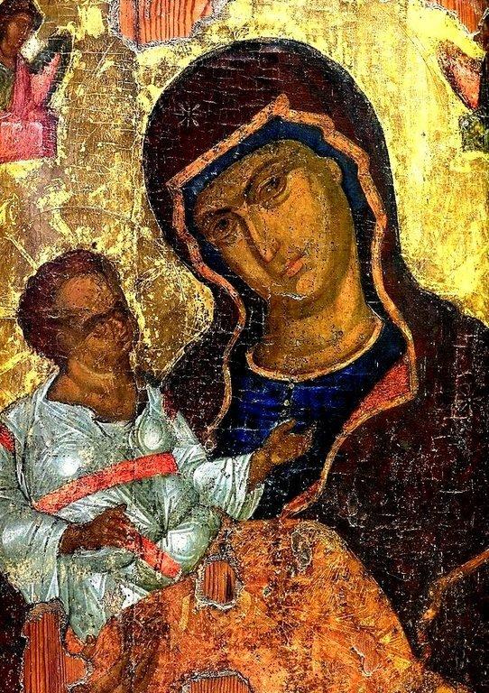 Пресвятая Богородица с Младенцем. Кипрская икона. Фрагмент.