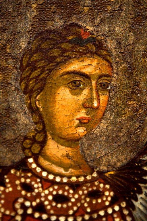 Благовещение Пресвятой Богородицы. Царские Врата. Византийский музей в Кастории, Греция. Фрагмент.