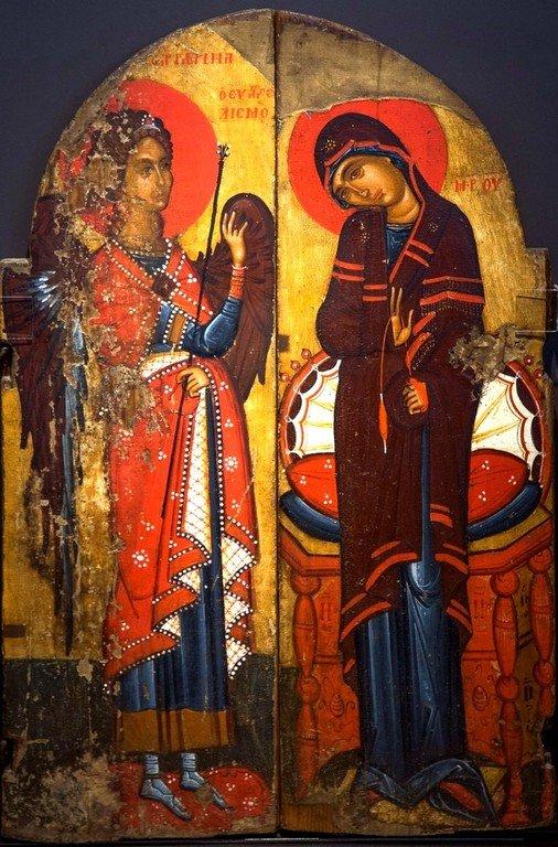 Благовещение Пресвятой Богородицы. Царские Врата. Греция, последняя четверть XV века. Византийский музей в Кастории.