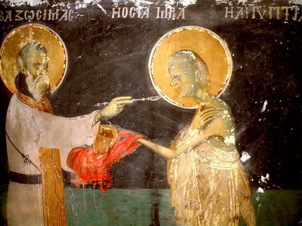 Причащение Святой Преподобной Марии Египетской. Фреска церкви Святого Иоанна Предтечи в Кастории, Греция.