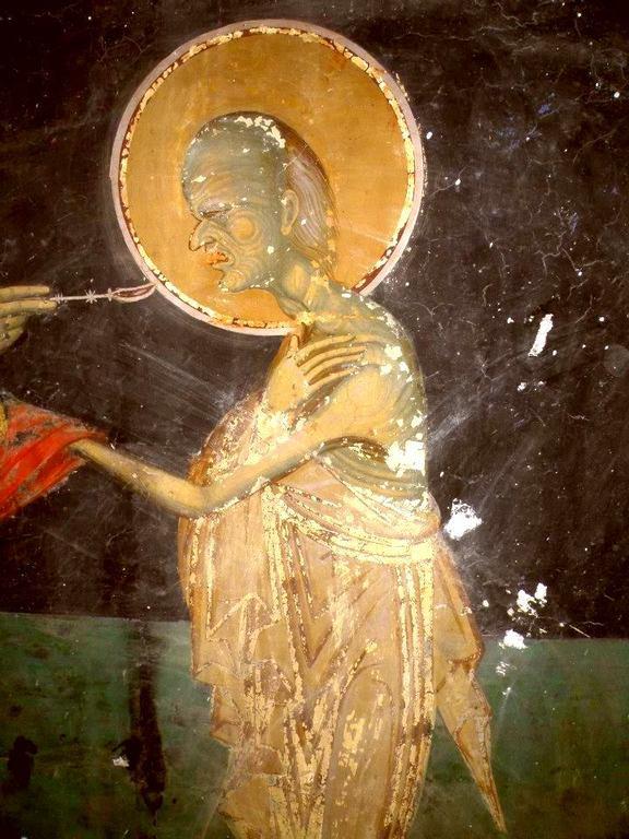 Причащение Святой Преподобной Марии Египетской. Фреска церкви Святого Иоанна Предтечи в Кастории, Греция. Фрагмент.