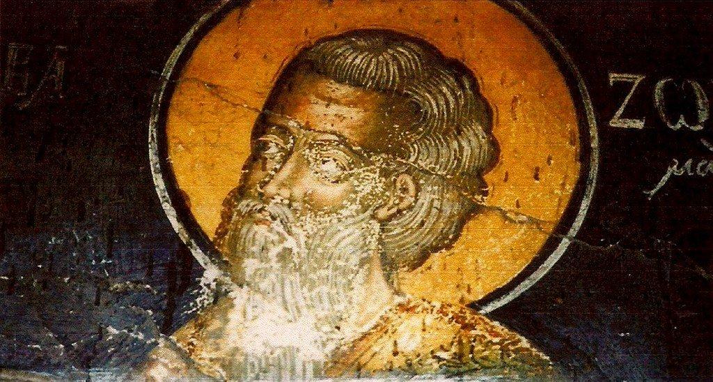 Святой Преподобный Зосима Палестинский. Фреска церкви Святой Марины в Верии, Греция.