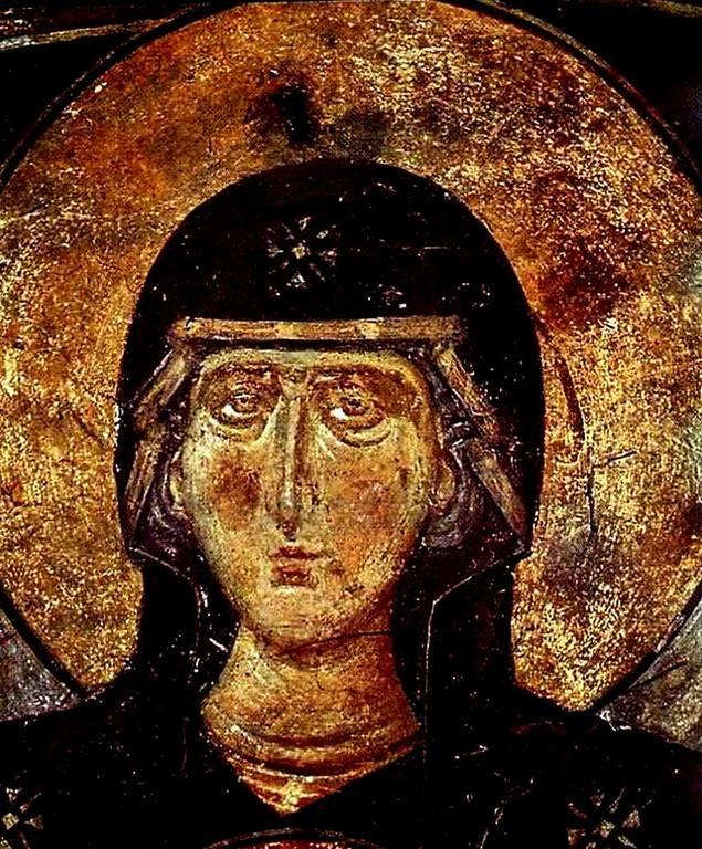 Лик Пресвятой Богородицы. Фреска. Кастория, Греция.