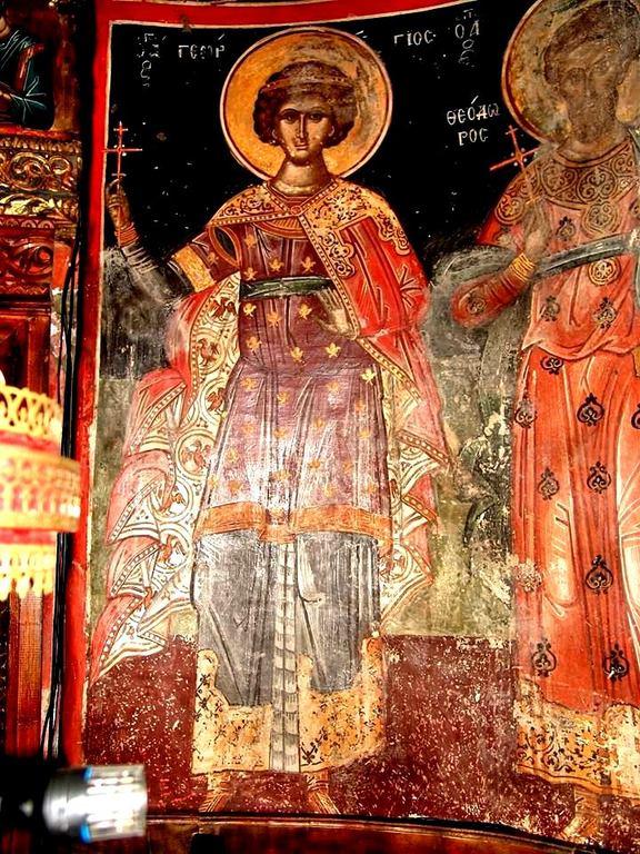 Святой Великомученик Георгий Победоносец. Греческая фреска XVI века. Метеоры, Греция.