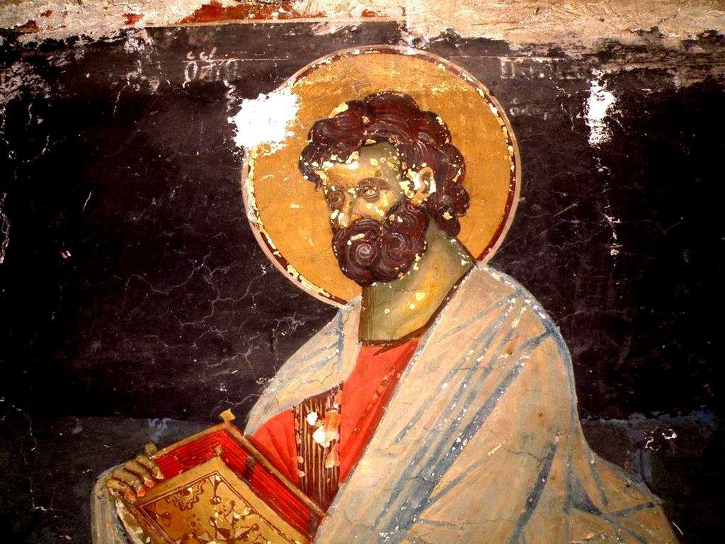 Святой Апостол и Евангелист Марк. Фреска церкви Святого Иоанна Предтечи в Кастории, Греция. XVIII век.