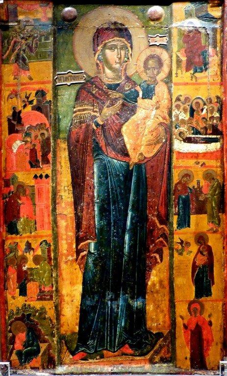 """Богоматерь Одигитрия (на фоне эпитет """"Пантанасса"""" - """"Всецарица""""). Икона в Византийском музее в Афинах."""
