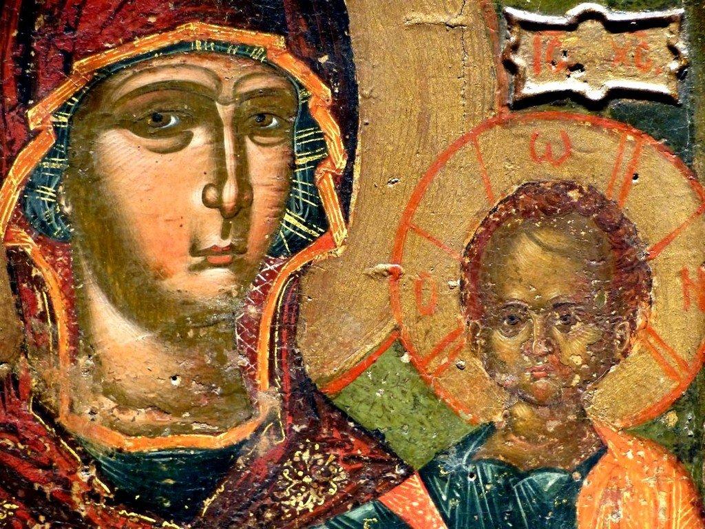 """Богоматерь Одигитрия (на фоне эпитет """"Пантанасса"""" - """"Всецарица""""). Икона в Византийском музее в Афинах. Лики."""