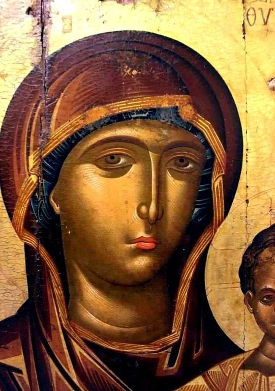 Лик Пресвятой Богородицы. Фрагмент греческой иконы.