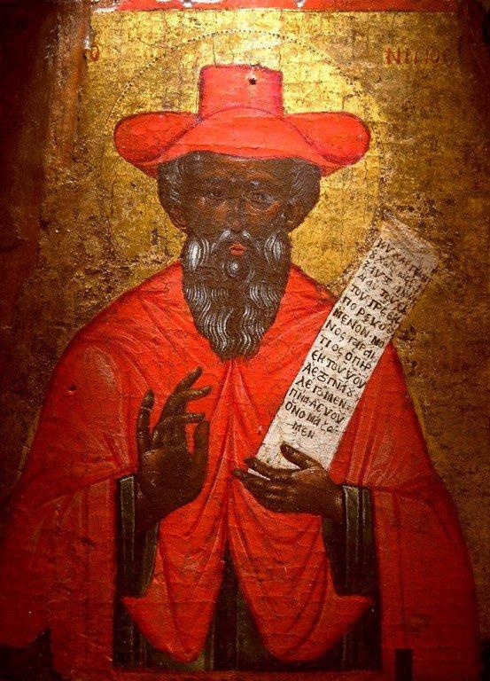 Святой Блаженный Иероним Стридонский. Старинная греческая икона. Византийский музей в Афинах.