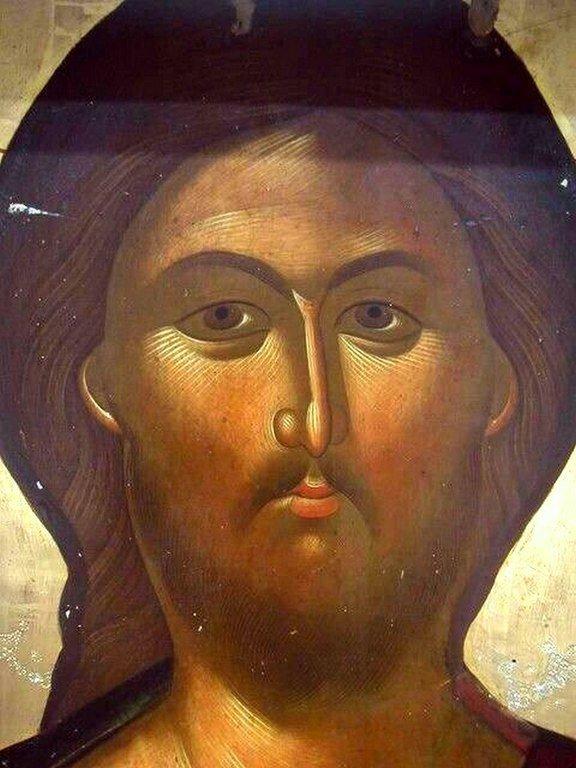 Лик Спасителя. Фрагмент греческой иконы.