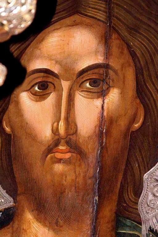 Лик Спасителя. Фрагмент иконы критской школы.