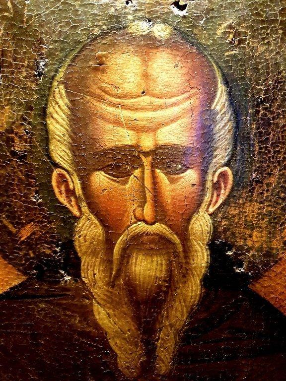 Святой Преподобный Афанасий Афонский. Греческая икона. Лик.