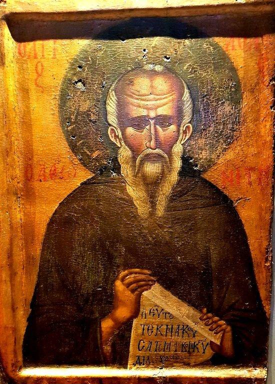 Святой Преподобный Афанасий Афонский. Греческая икона.