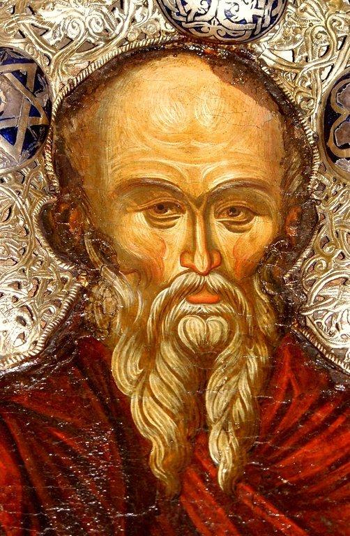 Святой Преподобный Афанасий Афонский. Икона в Великой Лавре Святого Афанасия на Афоне. Лик.
