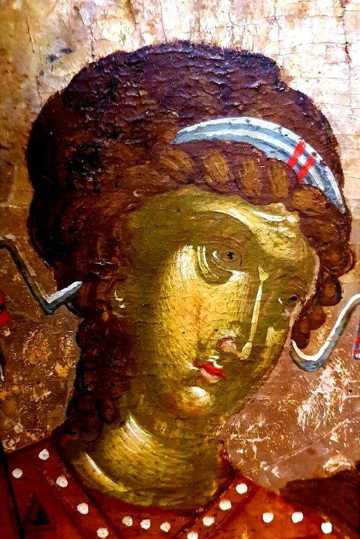 Архангел Гавриил. Фрагмент греческой иконы второй половины XV века. Монастырь Влатадон в Салониках.
