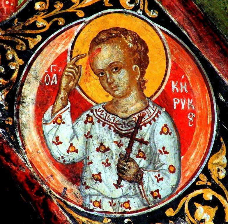 Святой Мученик Кирик. Фреска монастыря Святого Николая Анапавсаса в Метеорах, Греция. 1527 год. Иконописец Феофан Критский.