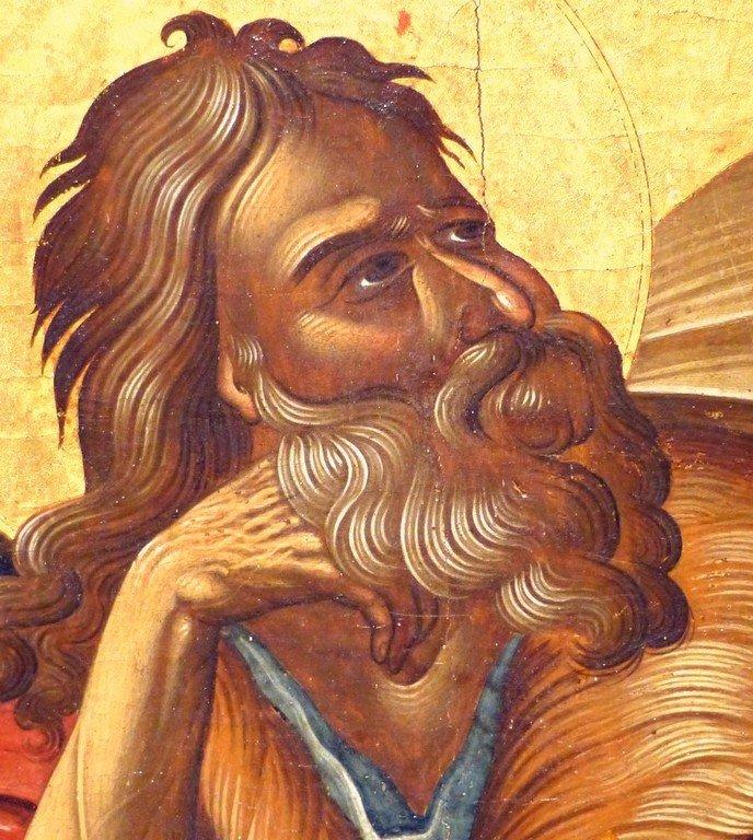 Святой Пророк Божий Илия в пустыне. Греческая икона. Византийский музей в Афинах. Фрагмент.