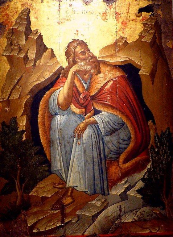 Святой Пророк Божий Илия в пустыне. Греческая икона. Византийский музей в Афинах.