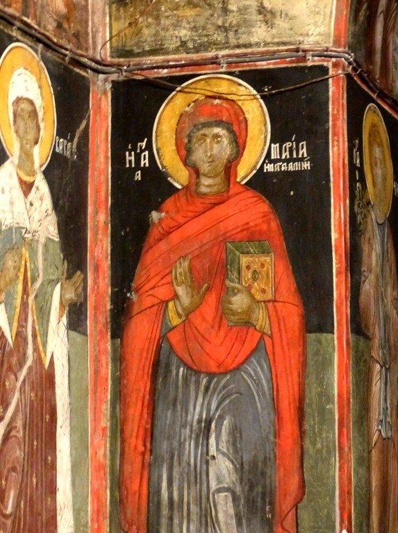 Святая Мироносица Равноапостольная Мария Магдалина. Фреска. Каламбака, Греция.