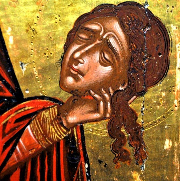 Святая Преподобномученица Параскева Римская. Греческая икона. Фрагмент.