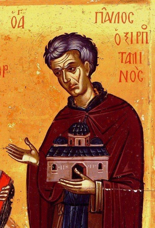 Святой Преподобный Павел Ксиропотамский. Фрагмент греческой иконы середины XVI века. Монастырь Святого Павла на Афоне.