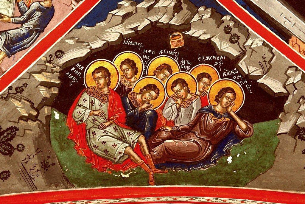 Святые семь Ефесских отроков. Фреска монастыря Великий Метеор в Метеорах, Греция. XVI век.