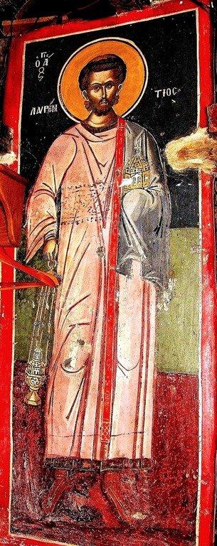 Святой Мученик Архидиакон Лаврентий Римский. Фреска монастыря Русану в Метеорах, Греция. XVI век.