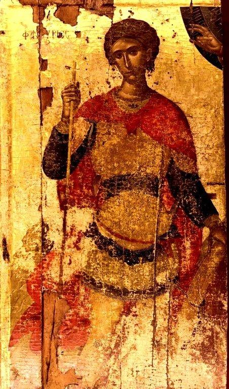 Святой Великомученик Фанурий Новоявленный. Икона критской школы XV века. Иконописец Ангелос Акотантос.
