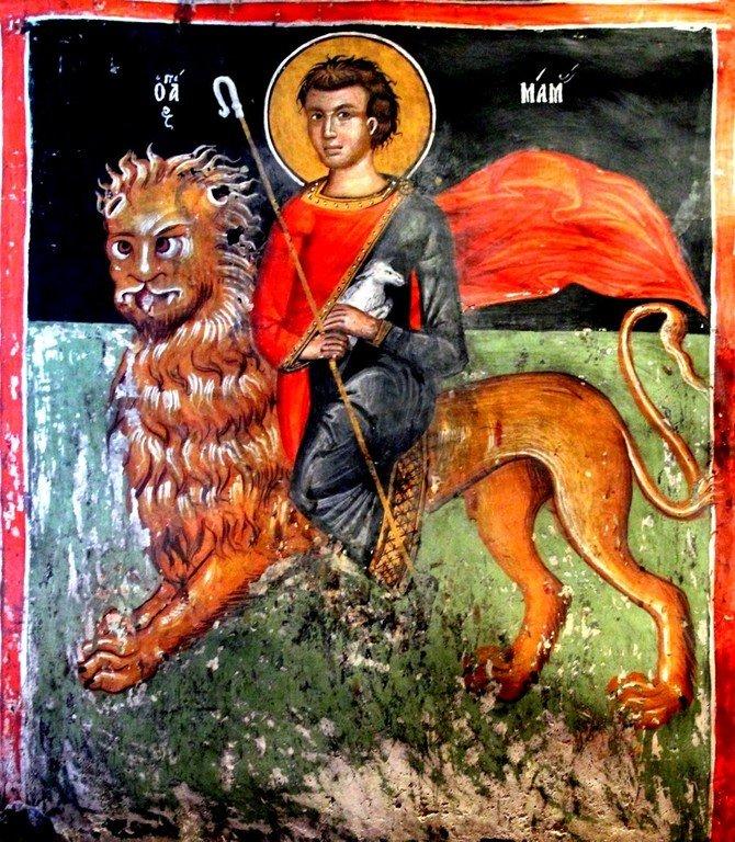 Святой Мученик Мамант Кесарийский. Фреска церкви Святого Созомена в Галате на Кипре.