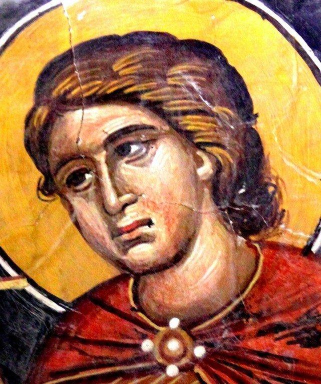 Святой Мученик Мамант Кесарийский. Фреска церкви Преображения Господня в Палехори, Кипр. 1610 - 1620-е годы.