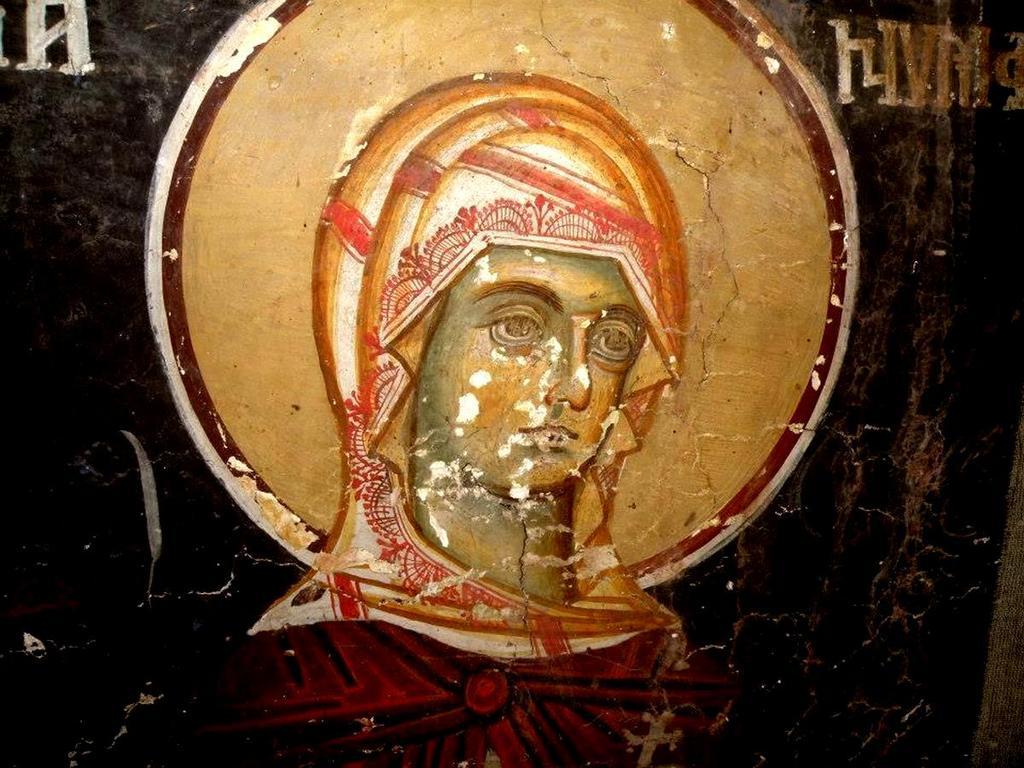 Святая Мученица Нимфодора. Фреска церкви Святого Иоанна Предтечи в Кастории, Греция. XVIII век.