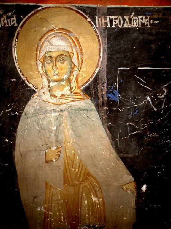Святая Мученица Митродора. Фреска церкви Святого Иоанна Предтечи в Кастории, Греция. XVIII век.