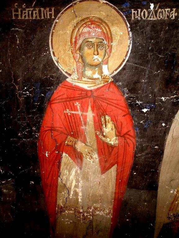 Святая Мученица Минодора. Фреска церкви Святого Иоанна Предтечи в Кастории, Греция. XVIII век.