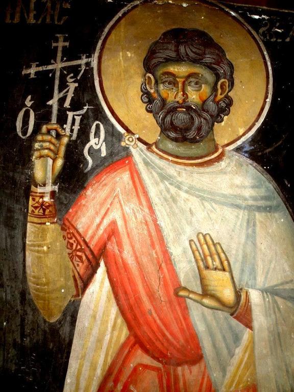 Святой Великомученик Евстафий Плакида. Фреска церкви Святого Иоанна Предтечи в Кастории, Греция. XVIII век.