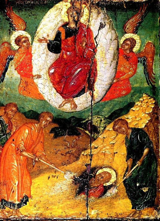 Преставление Святого Апостола и Евангелиста Иоанна Богослова. Греческая икона. Монастырь Ставроникита на Афоне.