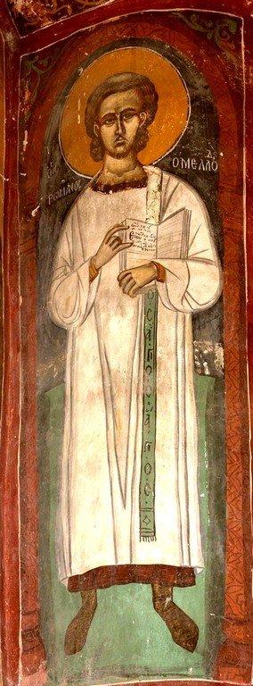 Святой Преподобный Роман Сладкопевец. Фреска монастыря Христа Антифонитиса на Кипре. XV век.
