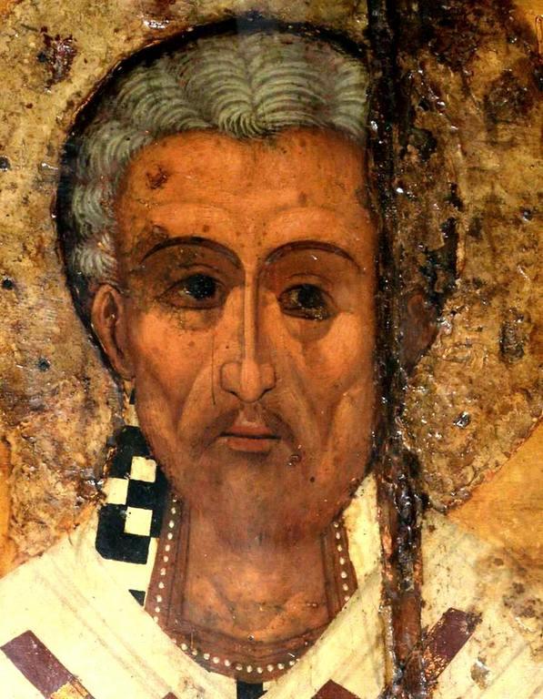 Святой Праведный Лазарь Четверодневный, Епископ Китийский. Икона в церкви Святого Лазаря в Ларнаке, Кипр. Лик.