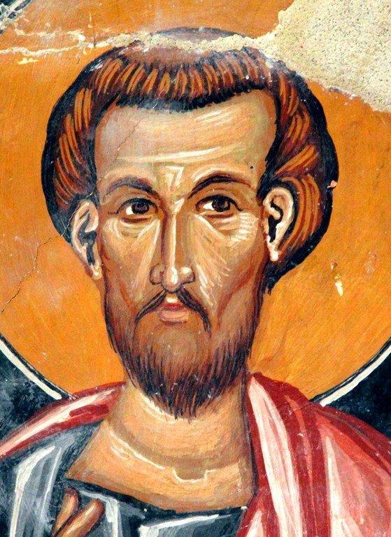 Святой Апостол и Евангелист Лука. Фреска церкви Архангела Михаила и Божией Матери в Галате на Кипре. 1514 год.
