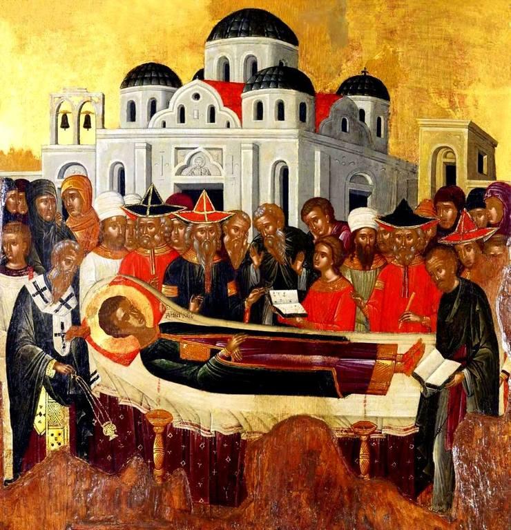Успение Святого Димитрия Солунского. Икона. Крит, вторая половина XV века.