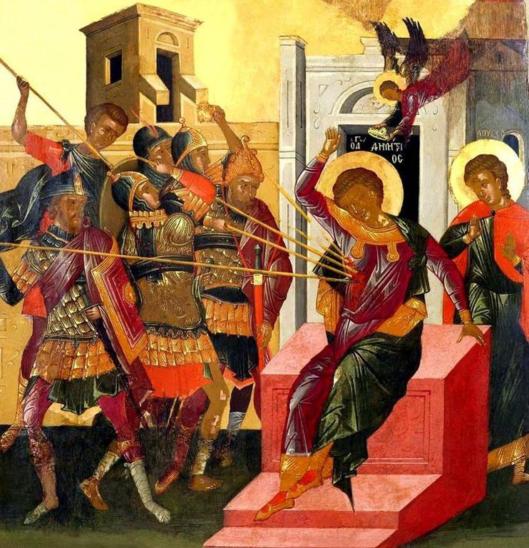 Мученичество Святого Димитрия Солунского. Икона. Крит, вторая половина XV века.