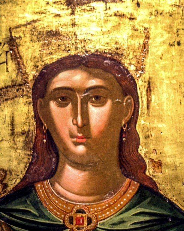 Святая Великомученица Екатерина. Греческая икона XVI века. Византийский музей в Афинах. Лик.