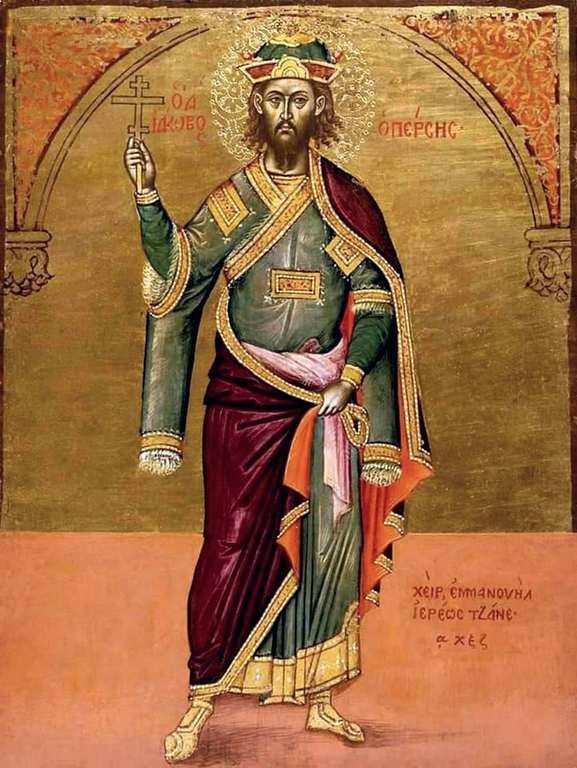 Святой Великомученик Иаков Персянин. Икона критской школы. 1667 год. Иконописец иерей Эммануил Цанес.