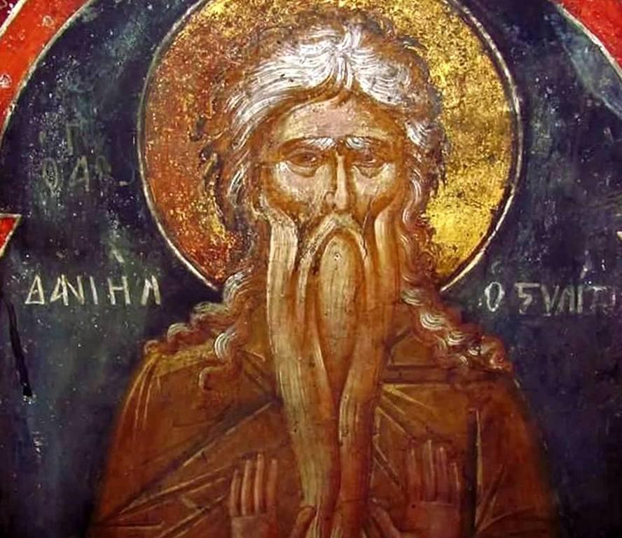 Святой Преподобный Даниил Столпник. Греческая фреска.