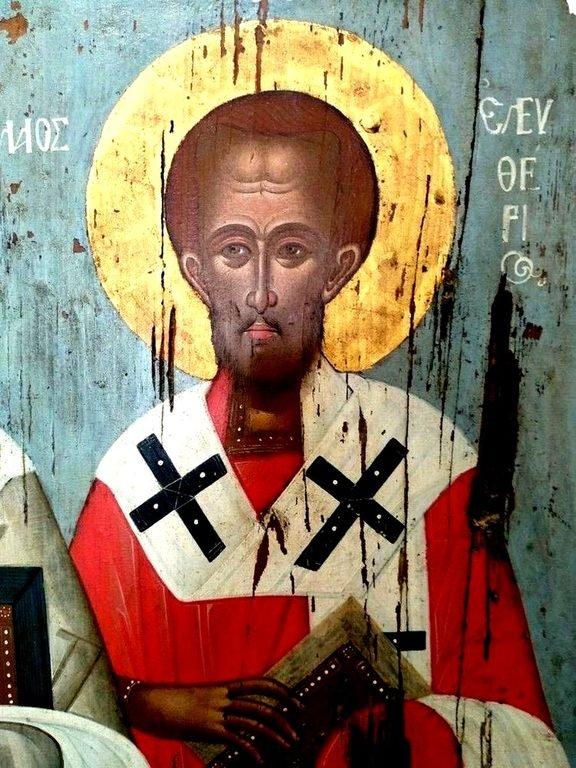 Священномученик Елевферий, Епископ Иллирийский. Фрагмент греческой иконы. Остров Тинос.